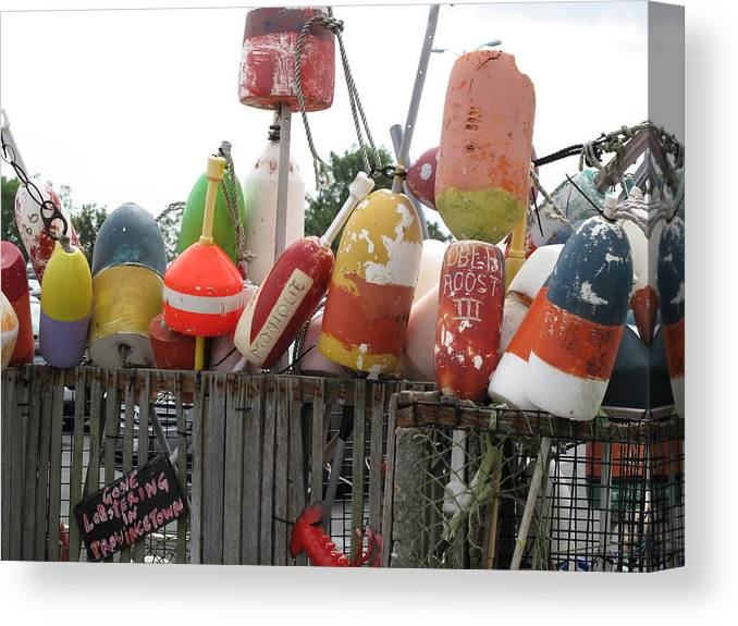 Buoys Canvas Print featuring the photograph Provencetown Lobster Buoys by Barbara McDevitt