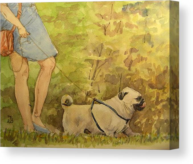 Pug Canvas Print featuring the painting Pug Walkign by Juan Bosco