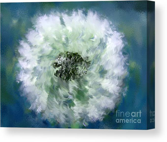 Flowers Canvas Print featuring the digital art Pursuit Of Happiness Blue White by Holley Jacobs