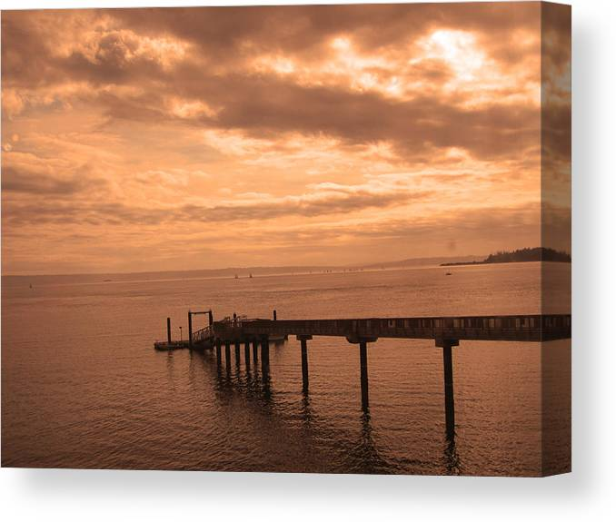 Washington Pier Canvas Print featuring the photograph Quiet Peachy Toned Pier by Kym Backland