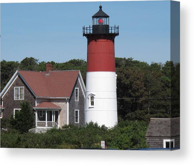Lighthouse Canvas Print featuring the photograph Red Beacon On Nauset Light by Barbara McDevitt