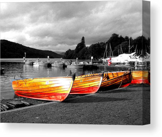 Boat Canvas Print featuring the photograph Rowing Boats Ready For Work by Steve Kearns