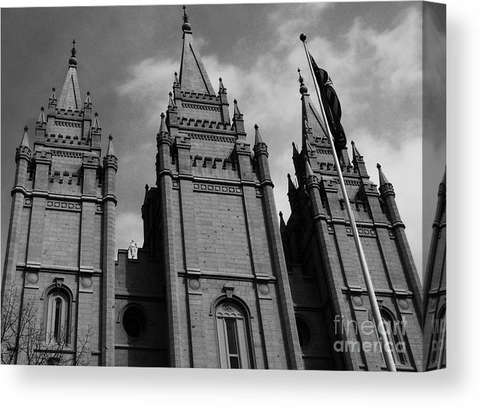 Black And White Canvas Print featuring the photograph Salt Lake City Lds Temple 3 by Rachel Butterfield