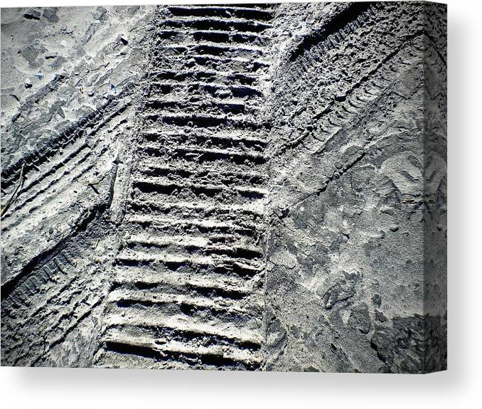 Shades Of Gray Canvas Print featuring the photograph Sand Tracks by Joan Reese