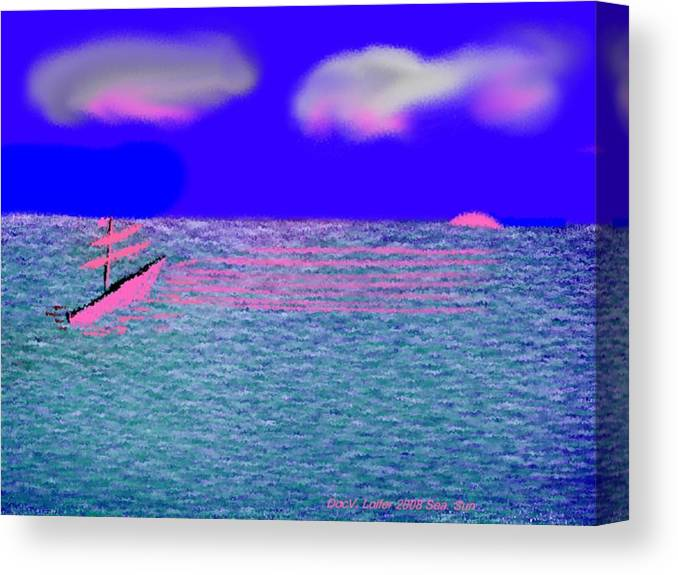 Early Evening Canvas Print featuring the digital art Sea.sun by Dr Loifer Vladimir