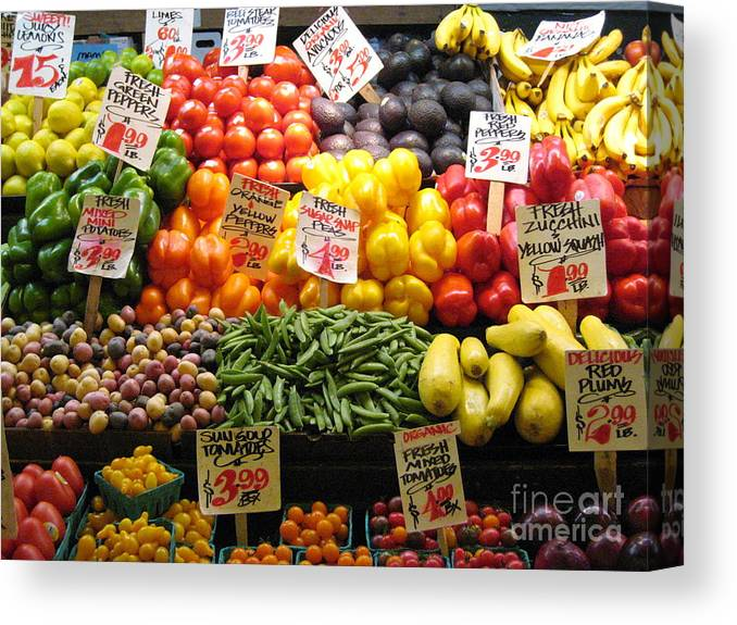 Canvas Print featuring the photograph Seattle Vegetable Market by Elizabeth-Anne King