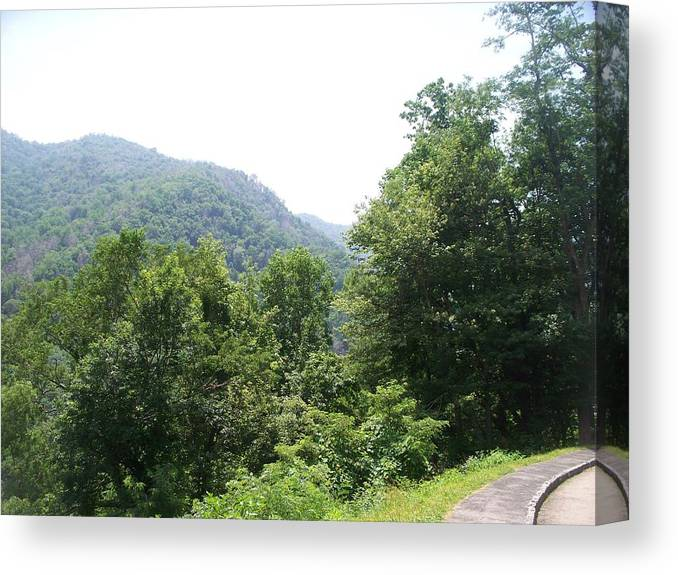 Landscape Canvas Print featuring the photograph Sidewalk In The Mountains by Rosanne Bartlett