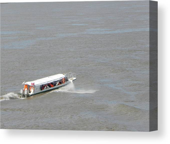 Amazon Canvas Print featuring the photograph Small Boat On The Amazon by R Alexander Calahan