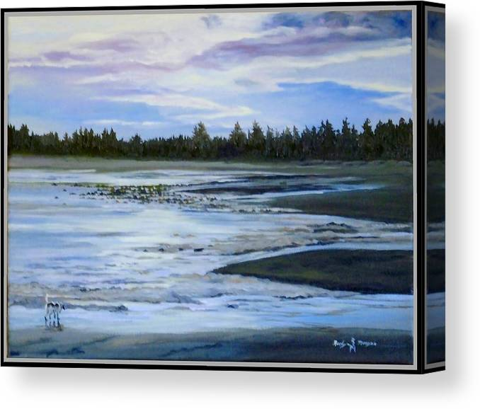 Beachscape Canvas Print featuring the painting Sniffing by Roslyn Morgan