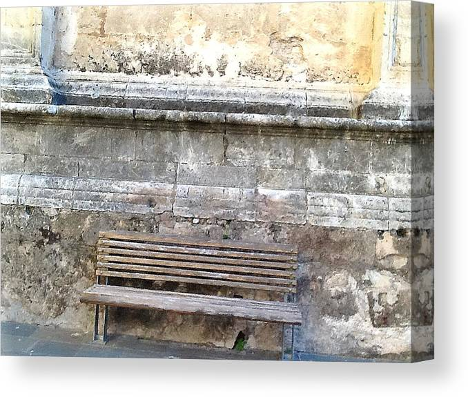 Rustic Canvas Print featuring the photograph Spanish Bench by Candee Lucas