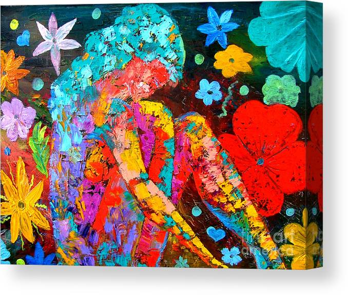 Girl Canvas Print featuring the painting Spring Fantasy by Inna Montano