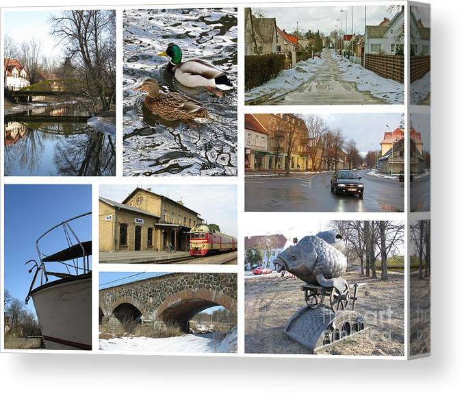 Spring In Silute  Lithuania  Collage 04 Canvas Print