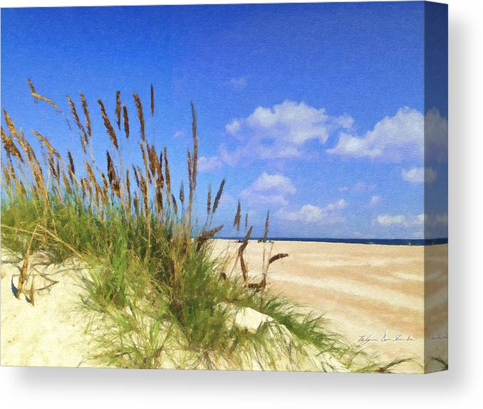 Beach Canvas Print featuring the painting St Augustine Beach Grass by Wynn Davis-Shanks