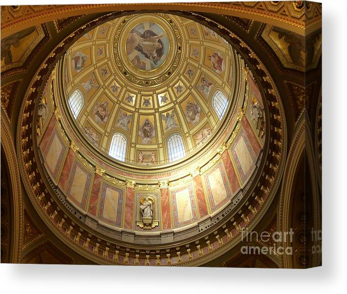 Budapest Canvas Print featuring the photograph St. Stephen's Dome by Deborah Smolinske