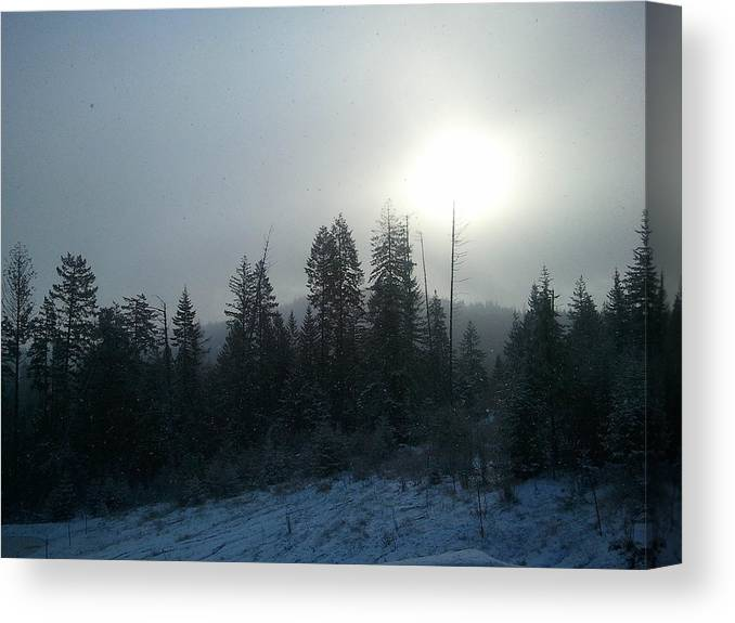 Sun Dog. Winter. Sky Snow Clouds Sunrise . Canvas Print featuring the photograph Sun Dog Lights Up Sky by Debbi Saccomanno Chan