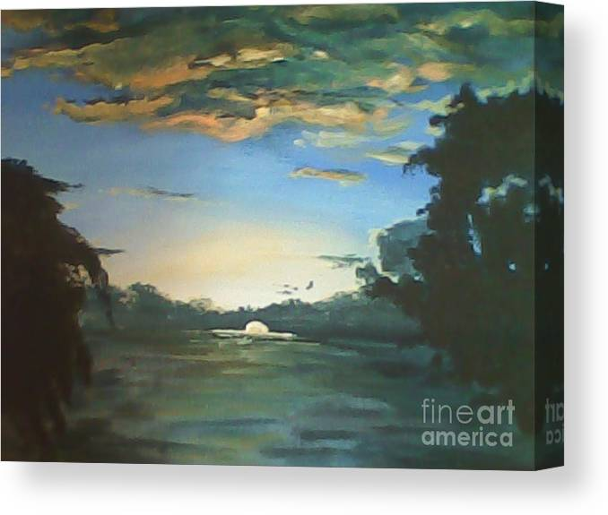 Philippines Canvas Print featuring the painting Sunrise In Tanon Strait by Richard John Holden RA