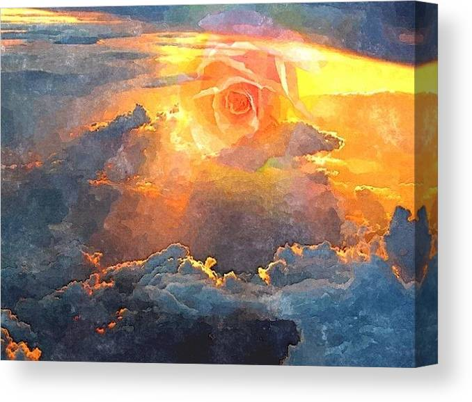 Sunrise Canvas Print featuring the mixed media Sunrose by Diana Nichols