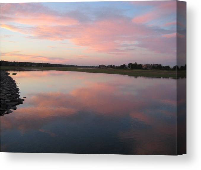 Landscape Canvas Print featuring the photograph Sunset In Pink And Blue by Melissa McCrann