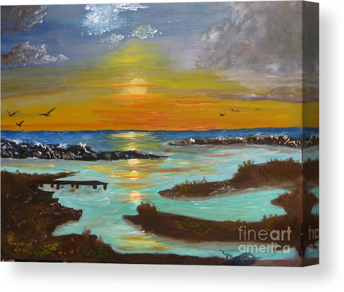 Seascape Canvas Print featuring the painting Sunset On The North Sea by Betty and Kathy Engdorf and Bosarge
