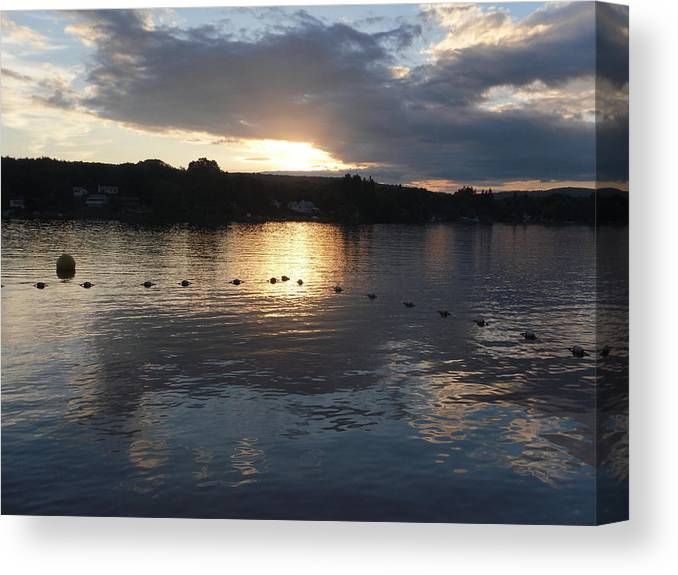 Sunset Canvas Print featuring the photograph Sunset Over Lake George by Lorette Starr
