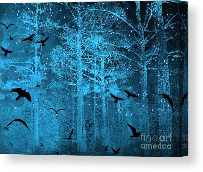 Surreal Fantasy Blue Woodlands Ravens And Stars Fairytale Fantasy Blue Nature With Flying Ravens Canvas Print