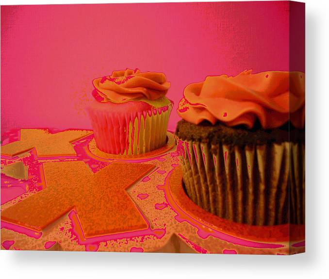 Chocolate Cupcakes Canvas Print featuring the mixed media Sweet Love by Erica Darknell