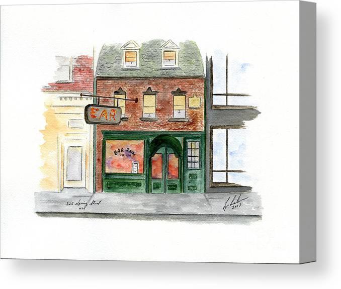 The Ear Inn Canvas Print featuring the painting The Ear Inn by AFineLyne
