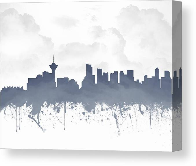 Vancouver Canvas Print featuring the digital art Vancouver British Columbia Skyline - Blue 03 by Aged Pixel