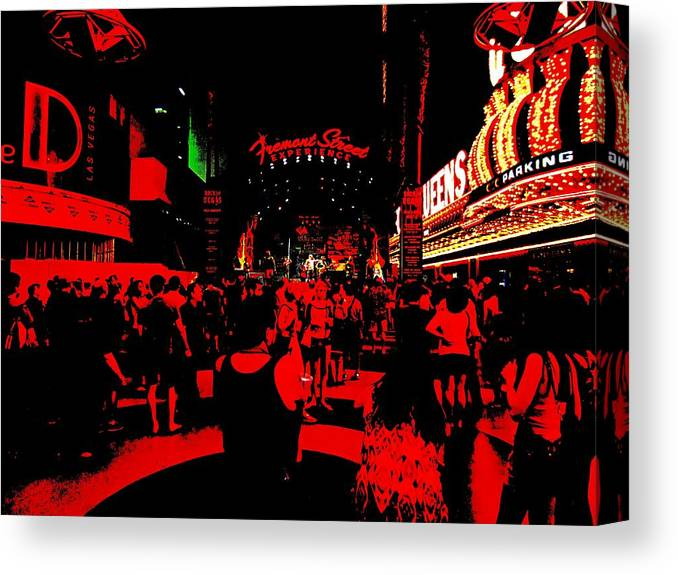 Canvas Print featuring the photograph Vegas At Night by Romuald Henry Wasielewski
