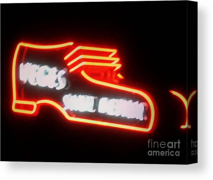 Canvas Print featuring the photograph Veges Shoe Repair by Kelly Awad
