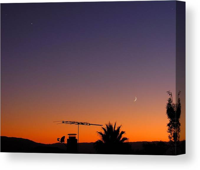 Moon Canvas Print featuring the photograph Venus And Waxing Crescent by Ru Tover