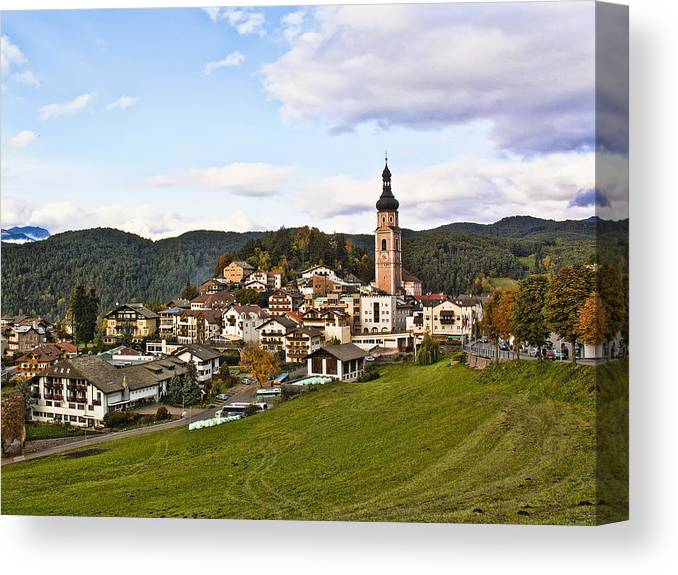 Italy Canvas Print featuring the photograph Village In The Dolomites by Betty Eich