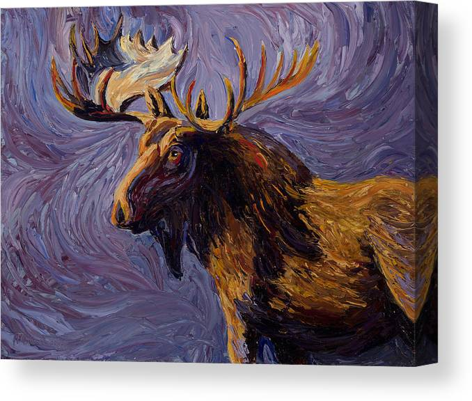 Oil Canvas Print featuring the painting Vincent Van Moose by Mary Giacomini