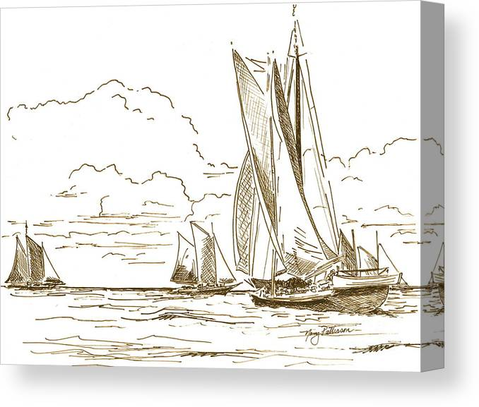 Oyster Schooners Canvas Print featuring the drawing Vintage Oyster Schooners by Nancy Patterson