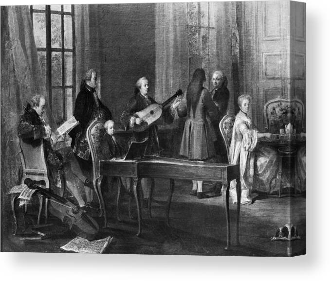 1766 Canvas Print featuring the painting Wolfgang Amadeus Mozart (1756-1791) by Granger