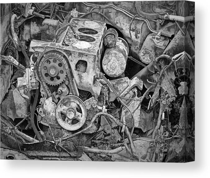 Art Canvas Print featuring the photograph Auto Engine Block From A Wrecked Car by Randall Nyhof