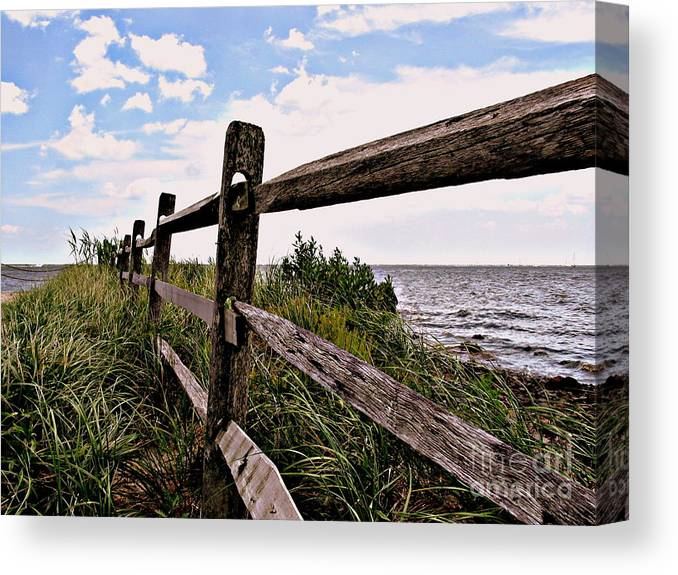 Photo Canvas Print featuring the photograph Bayfront Fence by Gladys Steele