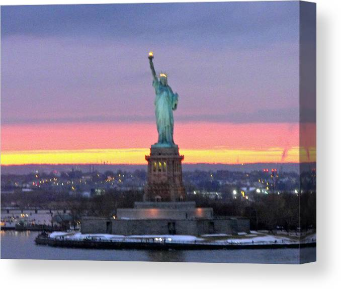 Statue Of Liberty Canvas Print featuring the photograph Statue Of Liberty At Sunset by Mircea Veleanu
