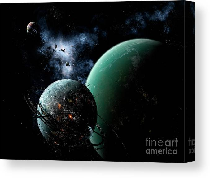 Artwork Canvas Print featuring the digital art A Massive Space Station Orbits A Large by Brian Christensen