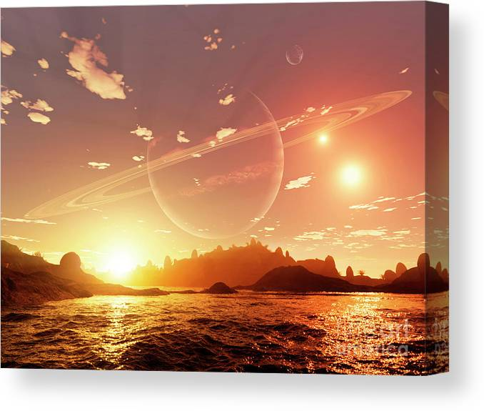 Artwork Canvas Print featuring the digital art A Scene On A Distant Moon Orbiting by Brian Christensen