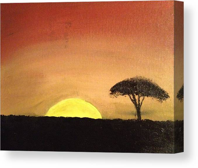 Landscape Canvas Print featuring the painting African Sunset by Jonathan Fussell