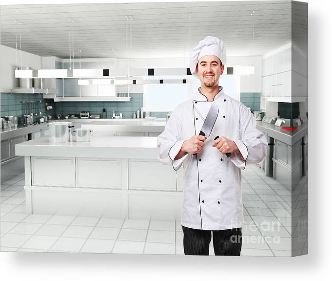 Chef Canvas Print featuring the photograph Chef On Duty by Gualtiero Boffi
