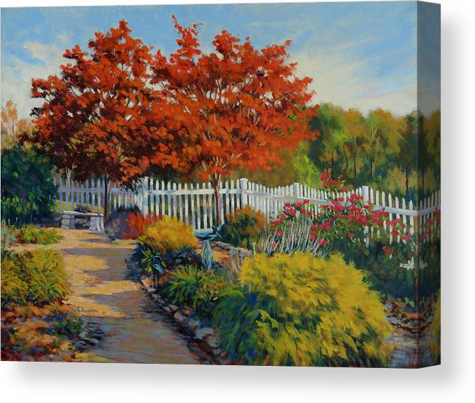 Impressionism Canvas Print featuring the painting Dotti's Garden Autumn by Keith Burgess