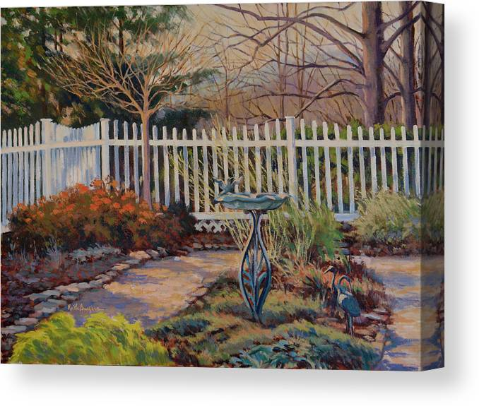 Impressionism Canvas Print featuring the painting Dotti's Garden Winter by Keith Burgess