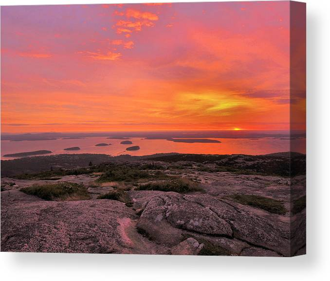 Sunrise Canvas Print featuring the photograph Down East Sunrise by Stephen Vecchiotti