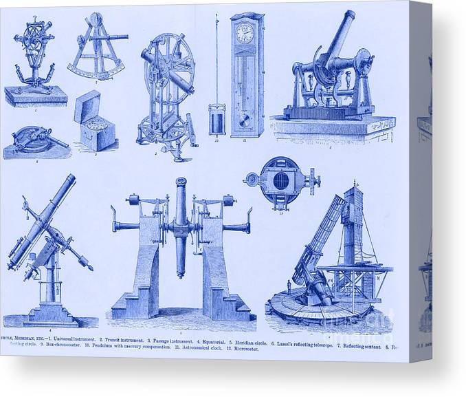 Astronomy Canvas Print featuring the photograph Engraving Of Historical Astronomy by Science Source