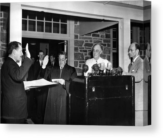 1940s Canvas Print featuring the photograph Fdr Presidency. From Left Samuel Eliot by Everett