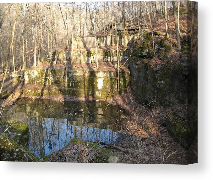Reflection Canvas Print featuring the photograph Forgotten Quarry by Bryan Wulf