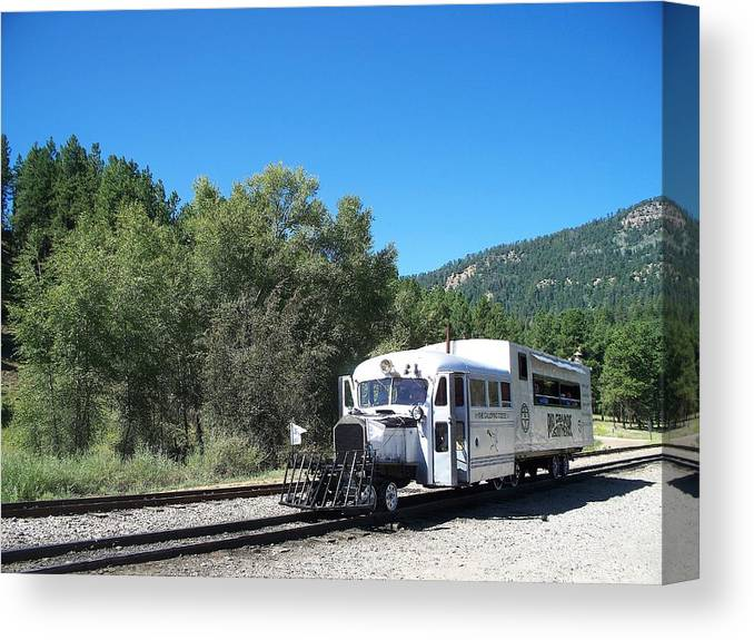Trains Canvas Print featuring the photograph Galloping Goose At Rockwood by FeVa Fotos