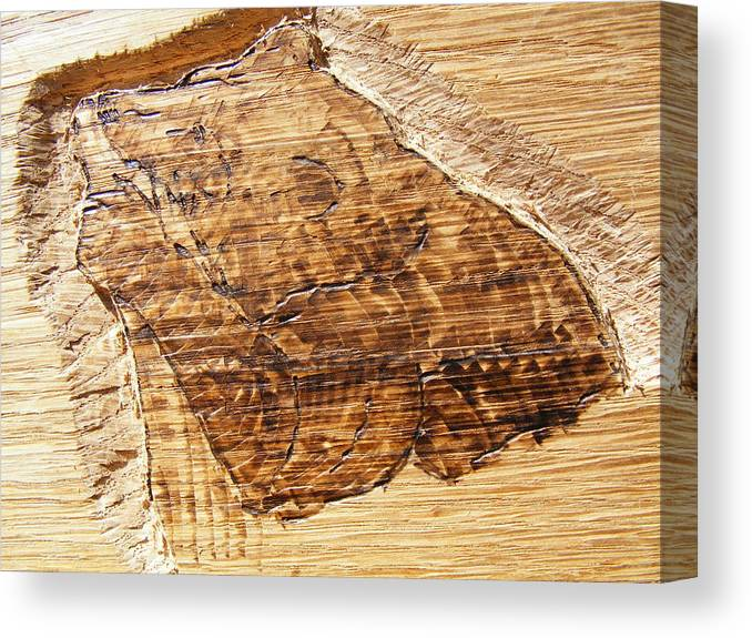 Grizzly Bear Canvas Print featuring the relief Grizzly Bear Fishing-wood Carving Pyrography by Egri George-Christian